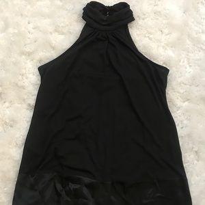 INC High-Neck, Black Silky Halter Top, Size Large